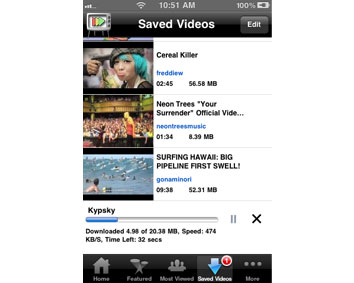 Saved videos in an exclusive tab